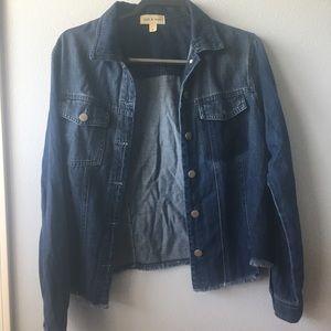 Anthropologie cloth & stone Denim Fringe Jacket